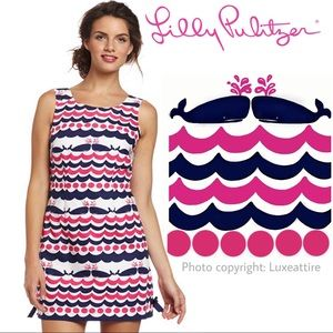 Lilly Pulitzer Dress Whales Tails Delia Shift Pink